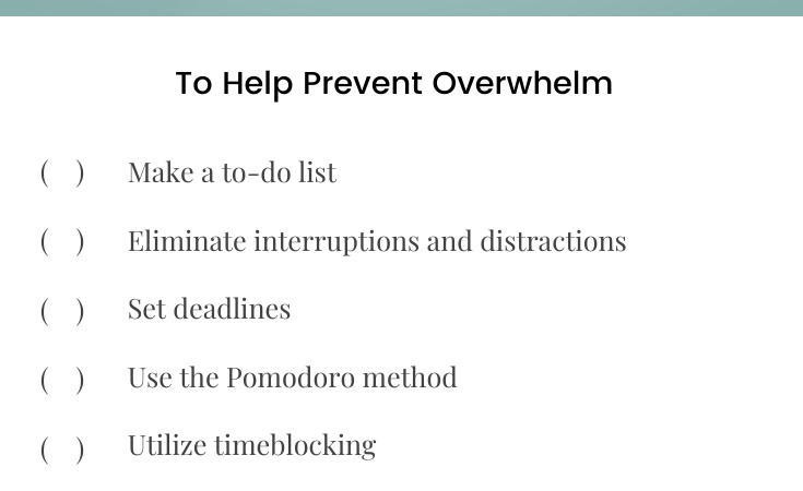 Tips For overcoming Overwhelm